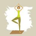 Free Stylized Yoga Tree Pose. Royalty Free Stock Photo - 26966665