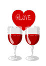 Free One Heart And Two Glasses Of Wine Stock Photography - 26966812