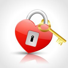 Free Heart - Padlock With Golden Key Royalty Free Stock Image - 26960096