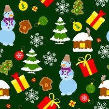 Free Colored Christmas Seamless Pattern Royalty Free Stock Photography - 26963997
