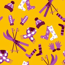 Free Colored Winter Seamless Pattern Stock Images - 26964034