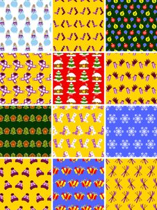 Free Set Of Christmas Seamless Patterns Stock Images - 26964124