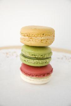 Stack Of Three Macarons Stock Photo