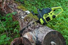 Free Chainsaw In Log Royalty Free Stock Photo - 26966295