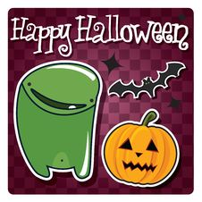 Free Happy Halloween Card With Cute Monster Royalty Free Stock Photography - 26966567