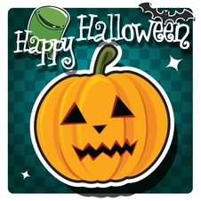 Free Happy Halloween Card With Cute Monster Royalty Free Stock Photo - 26966595