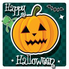 Free Happy Halloween Card With Cute Monster Royalty Free Stock Photography - 26966607