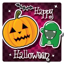 Free Happy Halloween Card With Cute Monster Stock Photo - 26966620