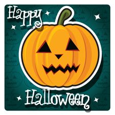 Free Happy Halloween Card With Cute Pumpkin Stock Image - 26966661