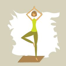 Free Stylized Yoga Tree Pose. Royalty Free Stock Photo - 26966665