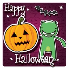Free Happy Halloween Card With Cute Monster Stock Photo - 26966690