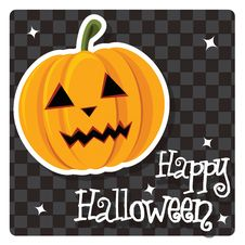 Free Happy Halloween Card With Cute Pumpkin Royalty Free Stock Photography - 26966747