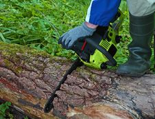 Chainsaw In Work Stock Images