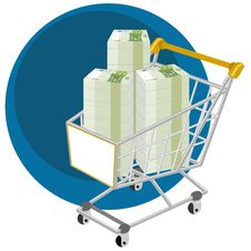 Free Shopping Cart Full Of Money Stock Photos - 26969483