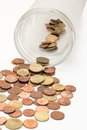 Free Euro Cents Are Tilted From The Coin Glas Stock Photography - 26974782