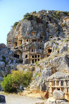 Demre Lician Mountains Tombs Stock Photos