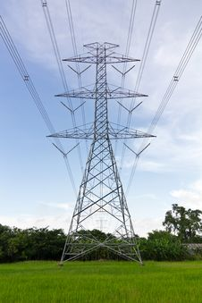 Free High Voltage Pylons On The Paddy Field, Thailand. Stock Photos - 26974153