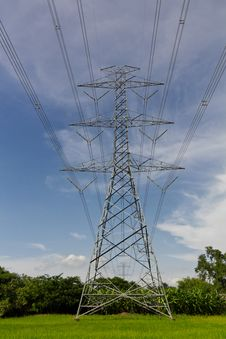 Free High Voltage Pylons On The Paddy Field, Thailand. Stock Image - 26976511
