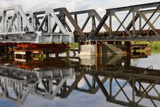 Free Maintenance Of Railway Bridge, Water Reflection. Royalty Free Stock Photos - 26976658