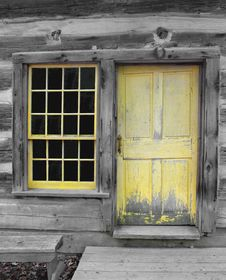 Free Old Yellow Wooden Door And Window. Royalty Free Stock Photo - 26980295