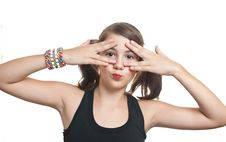 Free Girl Covering Eyes And Peeping Through Her Fingers Royalty Free Stock Photos - 26981388