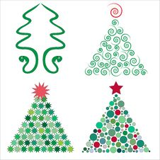 Four Christmas Trees In Royalty Free Stock Photos