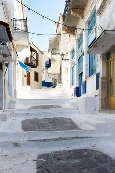 Street With White Road In The Old Village, Greece Stock Image