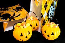 Candy Corn Pumpkins Royalty Free Stock Photo