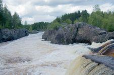 Voitsky Padun Waterfall, Karelia Region, Russia Stock Image
