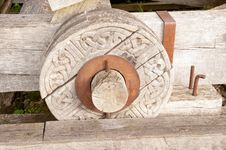 Free Wooden Wheel With A Celtic Pattern, Urquhart Castle,Loch-ness, Highlands,Scotland,UK Royalty Free Stock Image - 26990406