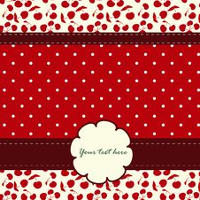 Free Card With Cherries And Nice Pattern Royalty Free Stock Images - 26992829