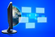 Virtual Buttons From LCD Monitor Royalty Free Stock Photography