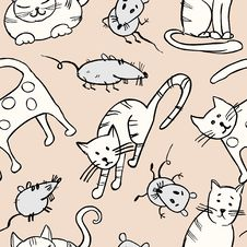 Free Cats And Rats Pattern Royalty Free Stock Photography - 26995197