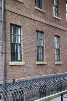Warehouse Windows And Iron Grille Royalty Free Stock Photography