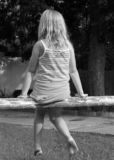 Free Girl On A Rail Fence Royalty Free Stock Image - 279056