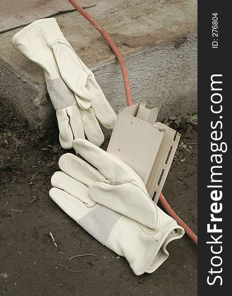 Gloves on a Work Site
