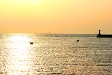 Free Golden Sunset On Sea Stock Image - 2700271