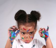 Free Girl And Paint Royalty Free Stock Photography - 2704507
