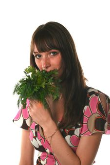 Free Girl With A Parsley And Fenne Stock Image - 2706331