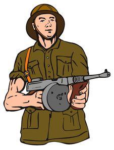 Free World War II Soldier With Gun Stock Photo - 2706490