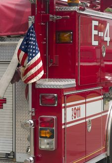 Flag On Fire Truck Stock Image