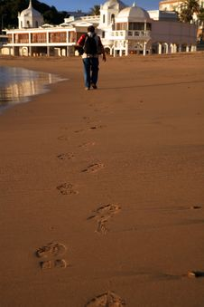 Free Man Walking In The Sand Stock Photo - 2707410