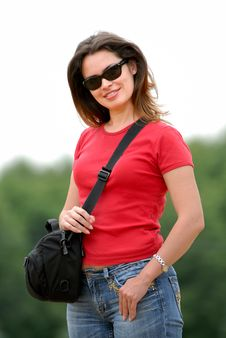 Free Lady In Red T-shirt Stock Photography - 2708222