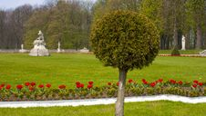 Free Castle Garden With Sculptures And Round Tree Royalty Free Stock Photo - 27003525