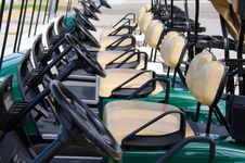 Free Row Of Golf Carts Closeup Royalty Free Stock Photo - 27005055
