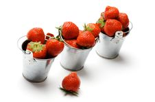 Free Three Buckets With Strawberry Royalty Free Stock Images - 27008029