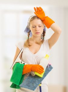 Free Young Housewife Is Tired Of Housework Royalty Free Stock Images - 27012889