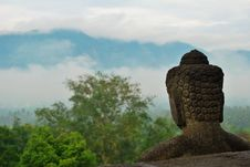 Free Borobudur Buddha Statue Overlooking The Landscape Royalty Free Stock Images - 27012939