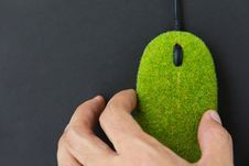 Free Hand Holding Green Mouse Stock Image - 27013021