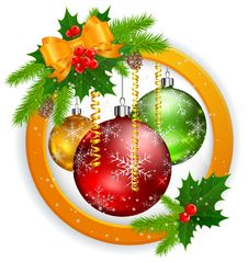 Christmas Label With Balls Stock Image